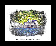 Buildings By The Sea Digital Art Framed Prints - Old Homestead by the Sea Framed Print by Barbara Griffin