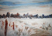 Old Fence Posts Painting Prints - Old Homestead In Winter Print by Suzanne McKay