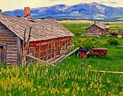 Old Tractors Paintings - Old Homestead Near Townsend Montana by Michael Pickett