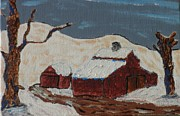 Acrylic On Canvas Board Paintings - Old Homestead - Winter by Gof Studio