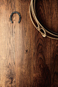 Ranch Photo Prints - Old Horseshoe and Lariat Print by Olivier Le Queinec