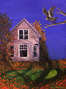 Abandoned Houses Painting Posters - Old House and Owl Poster by Janet Greer Sammons