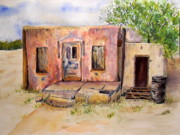 Watercolor Southwest Landscape Paintings - Old House in Clovis NM by Vicki  Housel