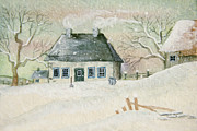 Sandra Cunningham - Old house in the snow/ painted digitally