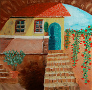 Pottery Paintings - Old house in tuscany by Peter Kallai