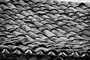 Tiled Prints - old house roof tiled with traditional old spanish roof tiles Tenerife Canary Islands Spain Print by Joe Fox