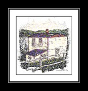 Two Story Posters - Old House Sketch Poster by Barbara Griffin
