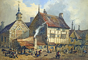 Old Houses Painting Posters - Old Houses and St Olaves Church Poster by George Shepherd