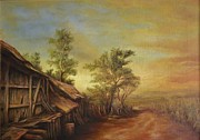 Peisaj Paintings - Old Hut from Turceni by Dan Scurtu