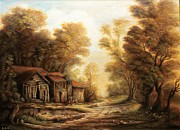Peisaj Paintings - Old Huts in the Forest by Dan Scurtu