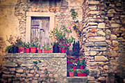 Old Italian Door With Flower Vases Print by Silvia Ganora