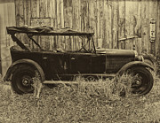 Beater Framed Prints - Old Jalopy Behind The Barn Framed Print by Thomas Woolworth
