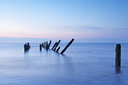 Sky Blue Prints - Old Jetty Posts at Sunrise Print by Colin and Linda McKie