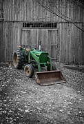 White Barn Photos - Old John Deere Tractor by Edward Fielding