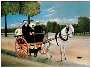 Horse And Riders Posters - Old Juniers Cart Poster by Henri Rousseau