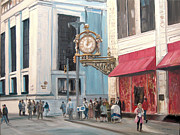 Downtown Pittsburgh Posters - Old Kaufmanns Clock Poster by C Keith Jones