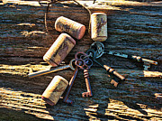 Corks Originals - Old keys and Corks by Sonya Colliver