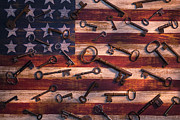 Folk Art American Flag Photos - Old keys on American flag by Garry Gay