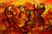 Jewish Paintings - Old Klezmer Band by Leon Zernitsky
