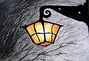 Night Lamp Drawings - Old  Lantern by Janet Darling