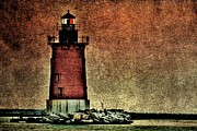 Hdr Look Photo Posters - Old Lighthouse at Dusk Poster by  Gene  Bleile Photography