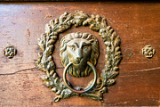 Golden Brown Prints - Old lion head doorknocker in Prague Print by Matthias Hauser