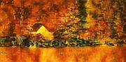Log Cabin Art Mixed Media Prints - Old log Cabin Print by Roman Solar