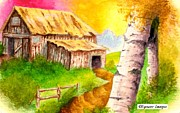 Log Cabins Drawings Posters - Old Log Cabin Poster by William Wyman