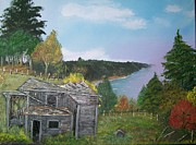 Fall Panorama Paintings - Old Log  House by the Sea  by Sharon Duguay