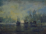 Wooden Ship Painting Prints - Old London Harbor Print by Gary Melvin