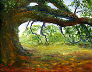 Blue Paintings - Old Louisiana Plantation Oak Tree by Lenora  De Lude