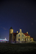Mackinac Bridge Prints - Old Mackinac Lighthouse Mackinac Bridge and Stars  Print by John McGraw