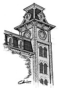 Arkansas Drawings Originals - Old Main by Calvin Durham