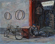 Occupy China Framed Prints - Old Man and His Bike Framed Print by Xueling Zou