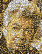 Coin Mixed Media Prints - Old Man Coin Mosaic Print by Paul Van Scott