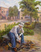 Old Man With Hat Framed Prints - Old Man Feeding the Pigeons Framed Print by Claiborne Hemphill-Trinklein