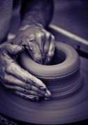 Brown Toned Art Framed Prints - Old man hands working on pottery wheel Framed Print by Gordan Poropat