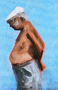 Spectator Painting Prints - Old Man on the Beach Print by Nancy Merkle