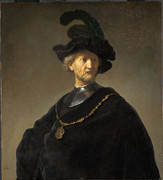 Gold Chain Metal Prints - Old Man with a Gold Chain Metal Print by Rembrandt van Rijn