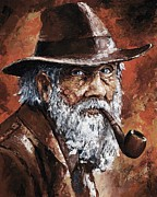 Portraits Paintings - Old Man with Pipe by Emerico Imre Toth