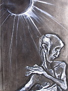 Elderly Drawings - Old Man with Raised Arm II by Kenneth Agnello