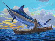 White Marlin Painting Posters - Old Mans battle Off00133 Poster by Carey Chen