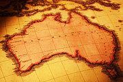 Australia Photos - Old Map of Australia by Colin and Linda McKie