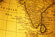 Sri Lanka Photos - Old Map of India and Arabian Sea by Colin and Linda McKie