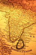 India Metal Prints - Old Map of India and Sri Lanka Metal Print by Colin and Linda McKie