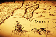 Monster Photo Prints - Old Map Sea Monster Sailing Ship Africa Madagascar Print by Colin and Linda McKie