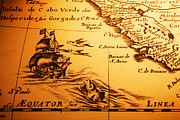 Monster Photo Prints - Old Map Sea Monster Sailing Ship Equator Africa Print by Colin and Linda McKie