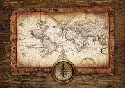 Vintage Map Pyrography - Old Maps by Christo Grudev