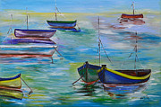 Sail Boats Prints - Old Marina Print by Donna Blackhall