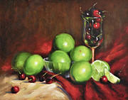 Wine Glass Paintings - Old Master Cherry Limeade by Katherine Tucker